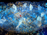 Performers on the Ice During the Opening Ceremonies of the 2002 Winter Olympics in Salt Lake City Photographic Print