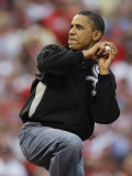 President Obama Winds Up to Throw Out the First Pitch During the MLB All-Star Baseball Game in St.  Photographic Print
