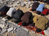 Palestinians Pray in Rubble of Mosque Destroyed in Israeli Military Offensive, Northern Gaza Strip Photographic Print