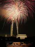 Fireworks Over the Capitol, the Washington Monument, and the Lincoln Memorial Photographic Print
