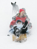 Enjoying a Morning of Sledding as their Dog Chases Them at the Recreation Center During a Snowstorm Photographic Print