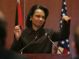 United States Secretary of State Condoleezza Rice Gestures at a News Conference Photographic Print