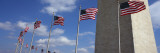 American Flags in Front of an Obelisk, Washington Monument, Washington Dc, USA Fotodruck von  Panoramic Images