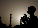 Sudanese Muslim Boy Prays in Front of a Mosque in Sudan Photographic Print