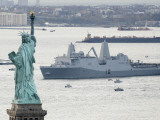 New Navy Assault Ship USS New York, Built with World Trade Center Steel, Passes Statue of Liberty Photographic Print