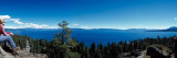 Woman Sitting at the Lakeside, Lake Tahoe, California, USA Photographic Print by  Panoramic Images