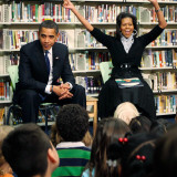 Before President Barack Obama and Wife Read to Second Graders at Capital City Public Charter School Photographic Print