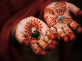 Pakistani Girl Displays Her Hands Painted with Henna Paste Photographic Print