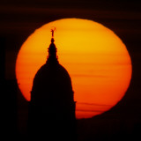 Sun Sets Behind the Kansas Statehouse Dome in Topeka, Kansas Photographic Print