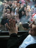 Relatives Wave Goodbye to Muslims Who Will Depart for Saudi Arabia on the Annual Hajj Pilgrimage Photographic Print