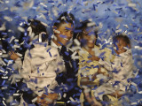 Senator-Elect Barack Obama and Family Covered in Confetti after He Delivered His Acceptance Speech Photographic Print