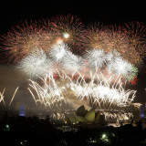 Fireworks Flash over Sydney Harbor During New Year Celebrations Photographic Print