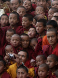 Buddhist Monks Watch a Show During a Public Meeting Addressed by the Dalai Lama Photographic Print