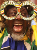 Fan Celebrates in Durban, South Africa During 100-Day Count Down Celebrations to the Fifa World Cup Photographic Print