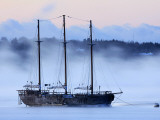 Arctic Sea Smoke Drifts by Raw Faith, an 88-Foot Galleon, on a Minus-12 Degree F Morning Photographic Print