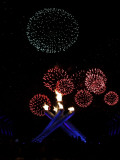 Fireworks Explode Behind the Olympic Flame at Opening Ceremony of Vancouver 2010 Winter Games Photographic Print