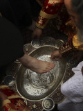 Greek Orthodox Patriarch Washes Foot of Priest at Ceremony Outside Church of Holy Sepulchre Photographic Print