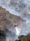 Helicopter Makes a Water Drop as Firefighters Battle a Wildfire in the San Gabriel Mountains Photographic Print