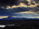 Sun Rays Filter Through Clouds over Mount Katahdin in Maine's Baxter State Park Photographic Print