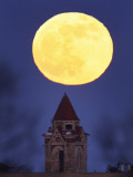 Blue Moon Rises Above Dyche Hall at the University of Kansas Photographic Print