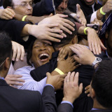 Barack Obama, Covered in Hands after His Primary Election Night Speech in St Paul, Minnesota Photographic Print