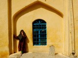 Beggar Girl Waits for Pilgrims Coming to Pray in Graveyard behind Sakhys Shrine, Kabul, Afghanistan Photographic Print