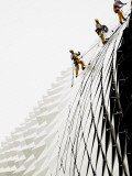 Workers Climb Down the Roof of Singapore's Spikey Fruit Shaped Esplanade Arts Center Photographic Print