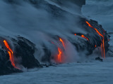 Lava from Kilauea Volcano in Hawaii Volcanoes National Park Enters the Pacific Ocean at Dawn Photographic Print
