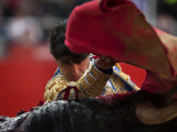 Bullfighte Performs During a Bullfight at the Monumental Bullring in Barcelona Photographic Print