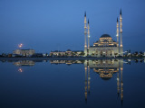 Mosque Named after Akhmad Kadyrov is Seen Reflected in the Water in Chechnya, Southern Russia Photographic Print