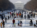 Hundreds Enjoy the Cold Weather on the Frozen Canal Near the Baroque Castle Nymphenburg in Munich Photographic Print