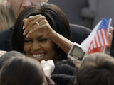 US First Lady Michelle Obama Greets the Crowd after Her Husband's Speech in Prague, Czech Republic Photographic Print