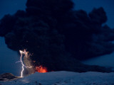 Lighting Seen Amid the Lava and Ash Erupting from the Vent of the Volcano in Central Iceland Photographic Print