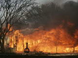 Mobile Home Sits Competely Engulfed in Flames in South Arlington, Texas Photographic Print
