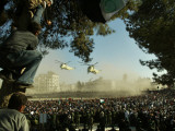 Egyptian Helicopters Carrying Remains of Palestinian Leader Yasser Arafat and Palestinian Leaders Photographic Print