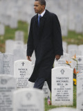 President Barack Obama Walks Through Grave Markers During a Visit to Arlington National Cemetery Photographic Print