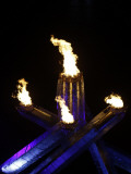 Olympic Cauldron is Seen after the Opening Ceremony for the Vancouver 2010 Olympics Photographic Print