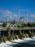 Salmon Leap Weir, and Cranes, Athlone, County Roscommon, Ireland Photographic Print