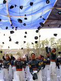 Some of 149 Graduating Cadets of Philippine Military Academy Throw their Pershing Caps in Air Photographic Print