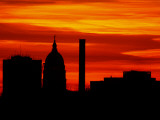 Sun Sets Behind the Kansas Statehouse in Downtown Topeka Photographic Print