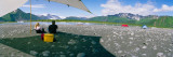 Tourists Sitting at Campsite Near Lake, Bear Glacier Lake, Kenai Fjords National Park, Alaska, USA Photographic Print by  Panoramic Images