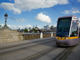 Luas Tram on the Sean Heuston Bridge, Dublin, Ireland Photographic Print