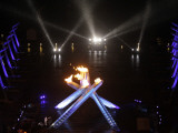 Olympic Cauldron after Being Lit at the Opening Ceremony for the 2010 Olympics Photographic Print
