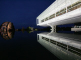 Lights Reflect Off a Railroad Bridge on the Grounds of Bill Clinton's Presidential Library Photographic Print