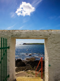 Doorway Near Ballynacourty Lighthouse, with View to Helvick Head, County Waterford, Ireland Photographic Print