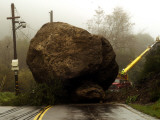 Boulder Some 25 Feet High Blocks Both Lanes of the Topanga Caynon Road Photographic Print