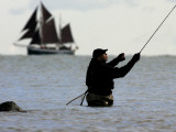 Hobby Fisherman Tries His Luck at the Baltic Sea Near Strande, Northern Germany Photographic Print
