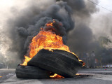 Supporters of Pakistani Shiite Muslim Group, Gather Near to Burning Tire Barricades Rally, Pakistan Photographic Print