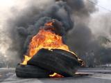 Supporters of Pakistani Shiite Muslim Group, Gather Near to Burning Tire Barricades Rally, Pakistan Photographic Print