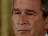 Tears Run Down President Bush's Face, Taking Part in a Medal of Honor Ceremony in the White House Photographic Print